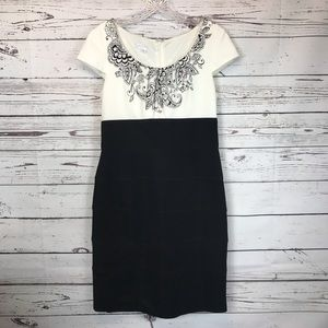 London Times Fitted Dress Black & White 10